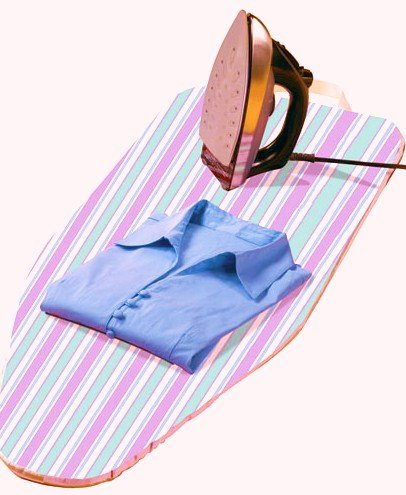 Ironing board, shirt and iron