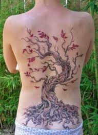 tatooed back with a tree with deep roots