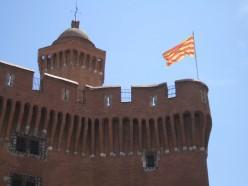 Castillet Tower, Perpignan: flying the Catalan flag