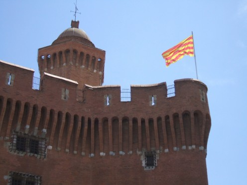 Castillet Tower, Perpignan: flying the Catalan flag