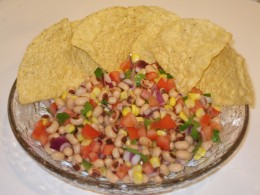 Black eyed pea salad or salsa with chips.