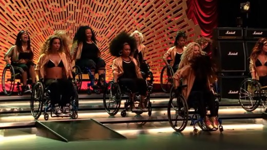 "The Jane Addams Academy girls performing ""Proud Mary"" in wheelchairs"