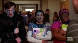Rachel, Kurt and Mercedes getting slushied in the face