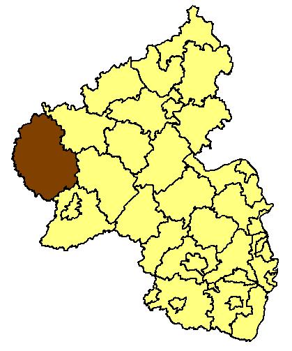 Map location of the Bitburg-Pruem district of the Rhineland-Palatinate