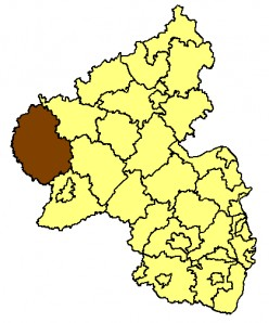 Map location of the Bitburg-Pruem district of the Rhineland-Palatinate