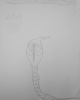 Cobra snake Drawn by 5 year old Kasey