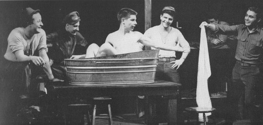 Roy is the second from the left, next to another friend of ours; Albie Stewart. This is from the F&M yearbook, of the play Stalag 17.