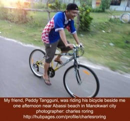 Riding Bicycle with My Friend Peddy Tangguni in Manokwari city
