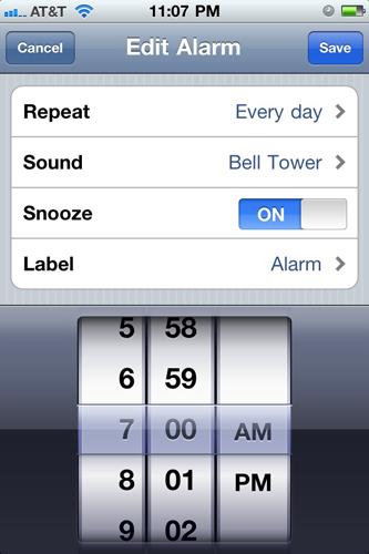 IPhone's alarm set up...