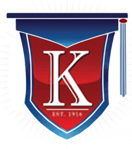Keith Country Day School Flag in blue red with a white capital K