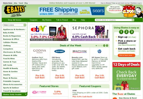 Ebates Cash Back gives you free cash back rebates for online shopping. They also list thousands of coupon codes, promo codes, and deals.