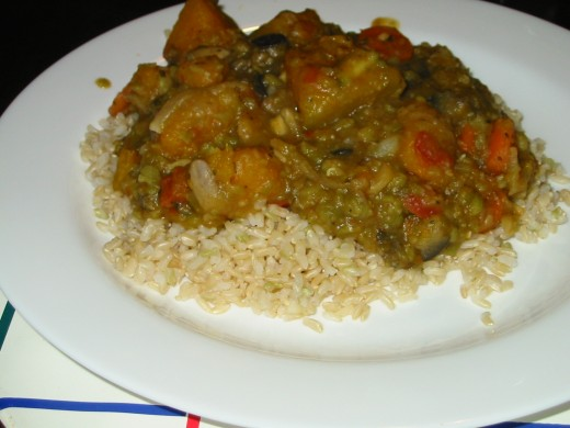Chick Pea and Pumpkin Curry on a bed of Bismati Rice