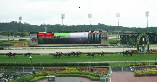"The Singapore Turf Club racecourse at Kranji (pic taken April 2008). Check out the large outdoor screen which allows you to see close-ups of races ""live""."