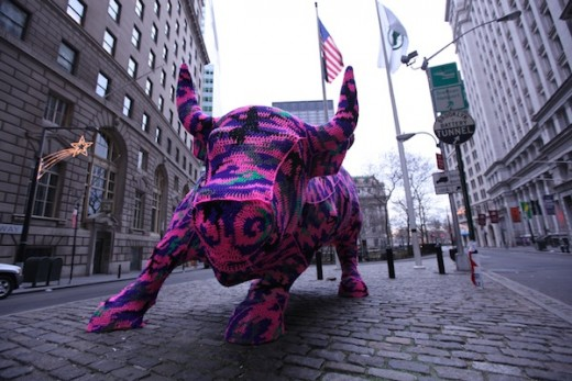 Charging Bull Crochet Cover by Olek