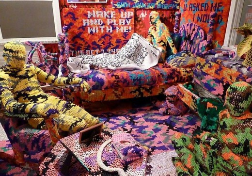 A room by Olek - now isn't this Extreme Crochet?