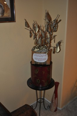 While the Chinese myth is about the idea of a money tree, you can actually have your very own, with a little creativity. Yes, this tree has dollar bills hanging as leaves... it was given as a present in hopes of fortune and good luck!