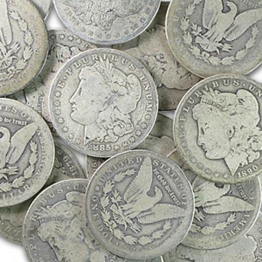 This is a pile of circulated U.S. Morgan Silver Dollars and they are 90% silver.