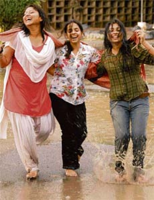 Indian college girls enjoying weather