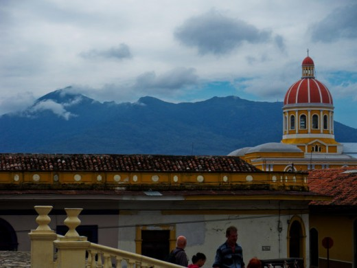 View from the church Iglesia de San Francisco, Granada, in background Volcano Mombacho and the cathedral, by jantamaya