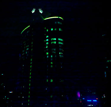 View of Crown Towers outside our room window