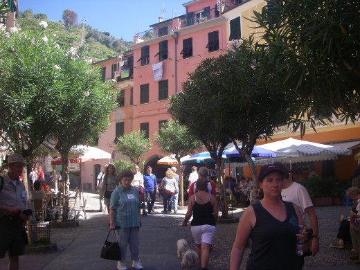 People, pets, umbrellas and much greenery in Riomaggiore!