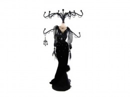 "Black Velvet Feather Mannequin Jewelry Stand 14.5""H by EchoMerx"