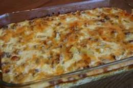 Cheese potato and sausage casserole