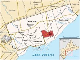 Map location of East York within Toronto, Ontario