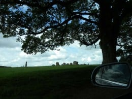 We drive up and park on the grass.  This is our first view of Long Meg and her Daughters.