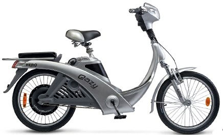 Notice the pedals on this electric moped.  It seems to be a cross between an electric bicycle and a scooter