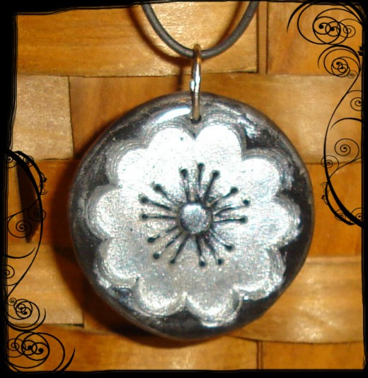 Polymer Clay and Resin Flower Pendant