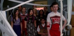 The Glee kids depressed at seeing their Glee practice room TPed by Vocal Adrenaline