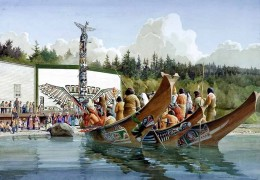 First Nations peoples arrived to the potlatch on large cedar canoes from far flung distances north and south of the chosen celebration location.