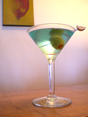 Martini With Green Olive Garnish