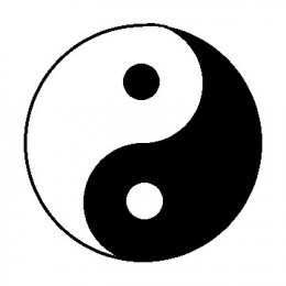 The Yin and Yang symbol with white representing Yang and black representing Yin. Strive to keep the two in balance in your life.