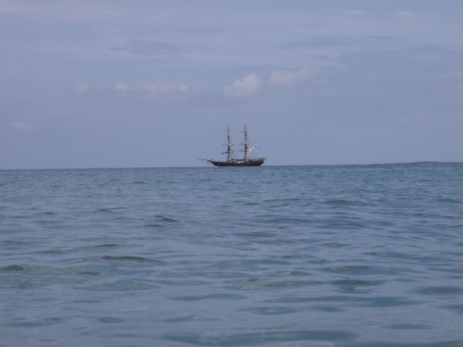 "The ship Unicorn, filmed as The Black Pearl in ""Pirates of the Caribbean,"" sails day trips from Rodney Bay past L'Anse Chastanet"