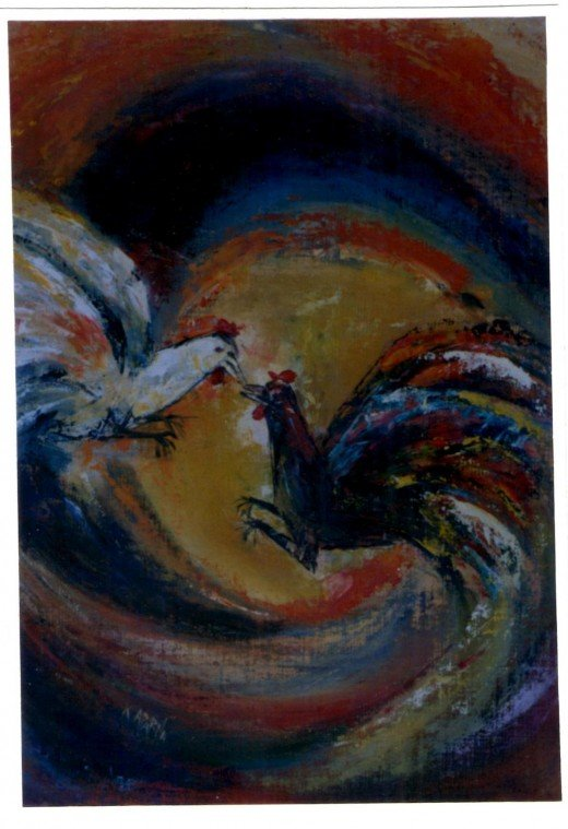 Cock fight-another oil painting by Aparna