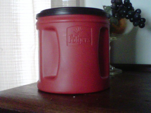 Large Folgers Coffee Container