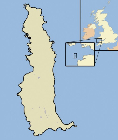 Map location of England's island of Lundy