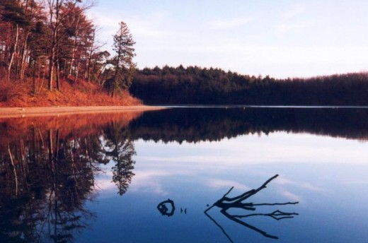 Walden Pond, the location of Henry David Thoreau's experiment in ecological living