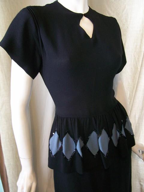 Divine black crepe vintage 40's dress with harlequin diamond cut