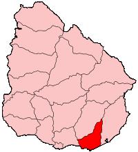 Map location of Uruguay's Maldonado department, where Piria Castle is situated