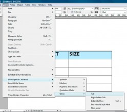 How to Type or Insert a Tab in a Table in InDesign CS3, CS4 and CS5