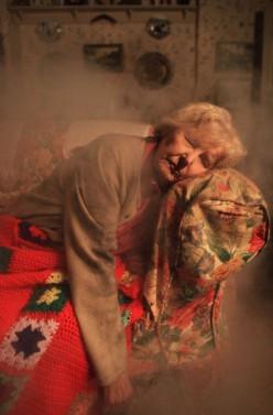 while Betty is asleep amongst the smoke