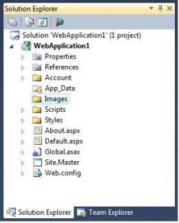 Figure 1 - Solution Explorer with Images folder added.