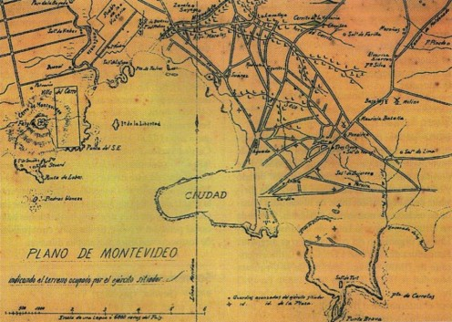 19th century civil war map of Uruguay, showing Cerro's location, left