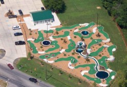 Miniature golf courses are all about putting, but you won't find anything like the kind of obstructions on a real course that are common on any miniature golf course.