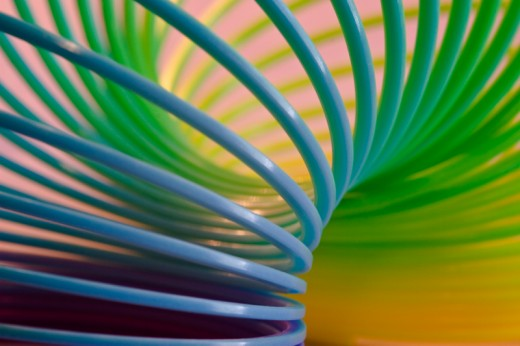 Photographing small objects or parts of objects is a favorite of many photographers. This close-up image of a colorful slinky is a good example.