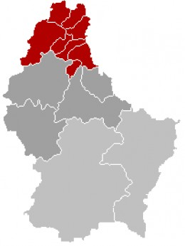 Map location of Clervaux Canton, northern Grand Duchy of Luxembourg