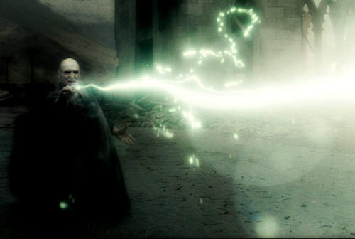 Voldemort striking the Killing  Curse...Avada Kedavra
